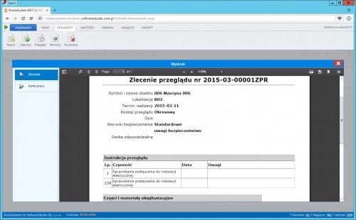oprogramowanie służby utrzymania ruchu zlecenie przeglądu